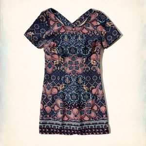 Hollister Navy Boho Print Cross Back Dress Small